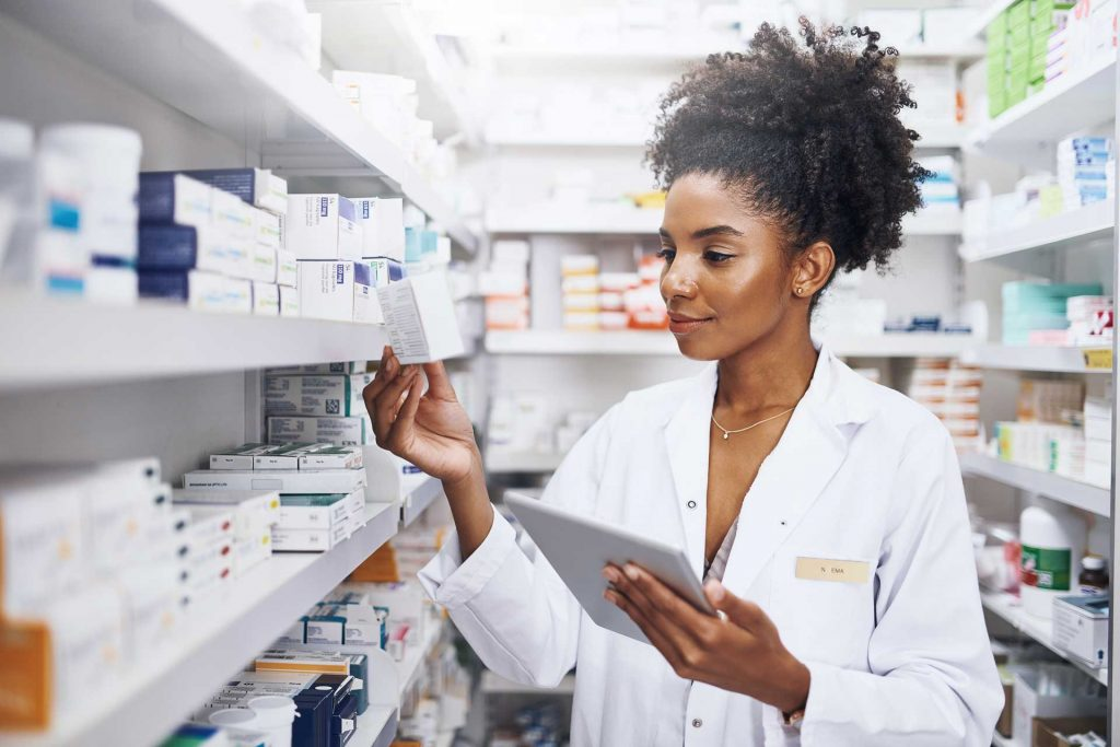 A Pharmacist working with medications.